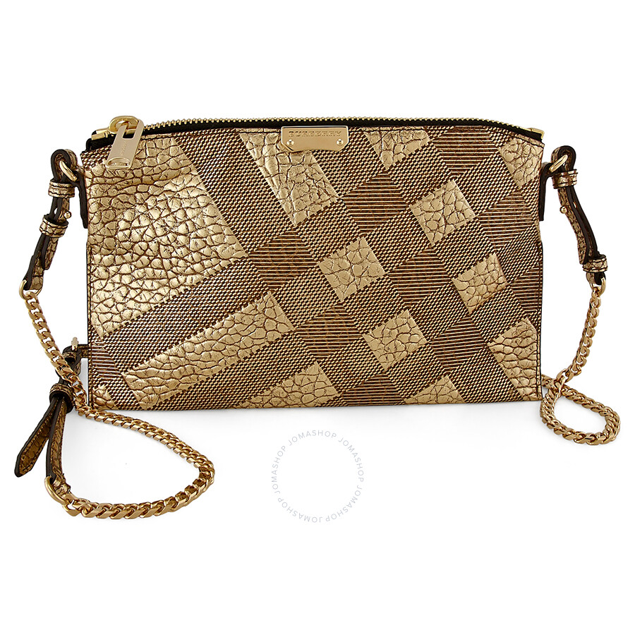 59a8ec400f91 Burberry Peyton Check-Embossed Leather Shoulder Bag - Gold Item No. 3958050