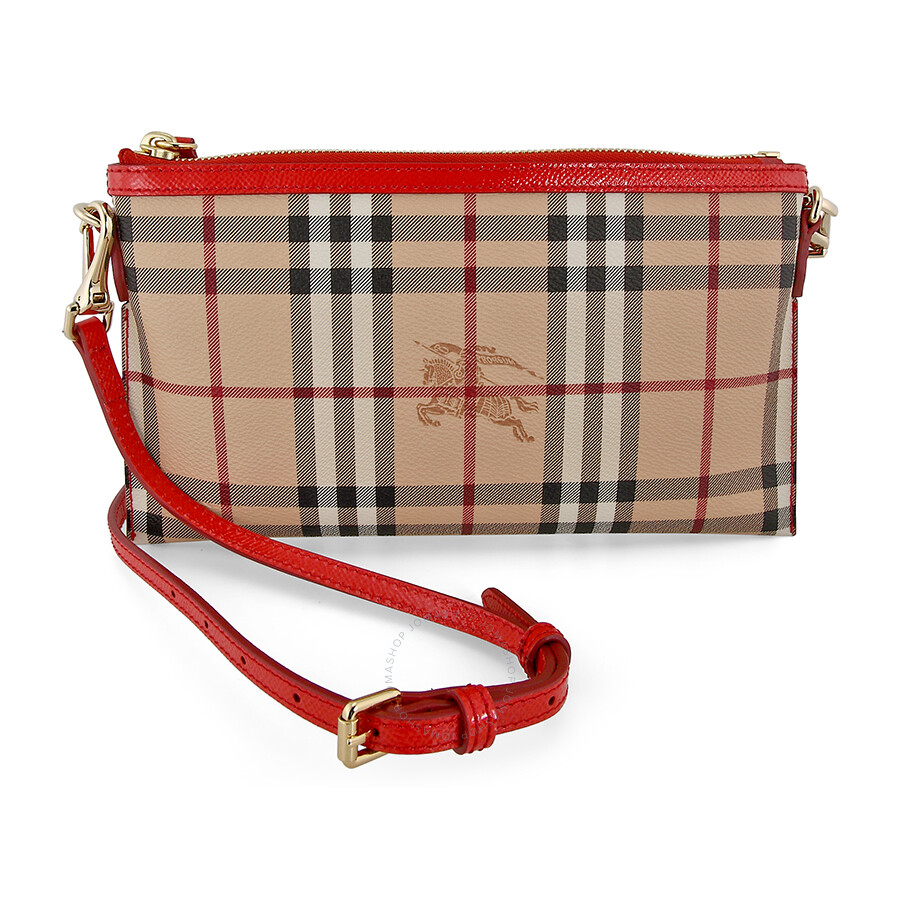 784ac00eaa5b Burberry Peyton Haymarket Check with Coral Red Leather Trim Clutch Bag  3963483