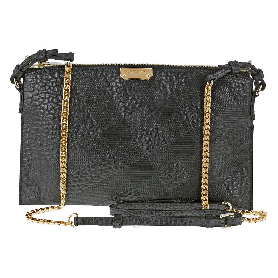 Burberry Peytone Black Embossed Check Leather Crossbody Bag Item No. 3955487 86785928de238