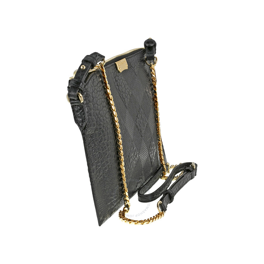 8716a1cc7d Burberry Peytone Black Embossed Check Leather Crossbody Bag ...