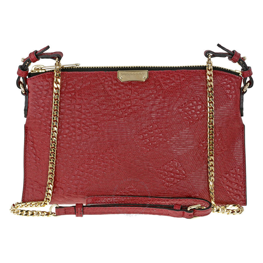 cdda095a17d6 Burberry Peytone Military Red Embossed Check Leather Crossbody Bag ...