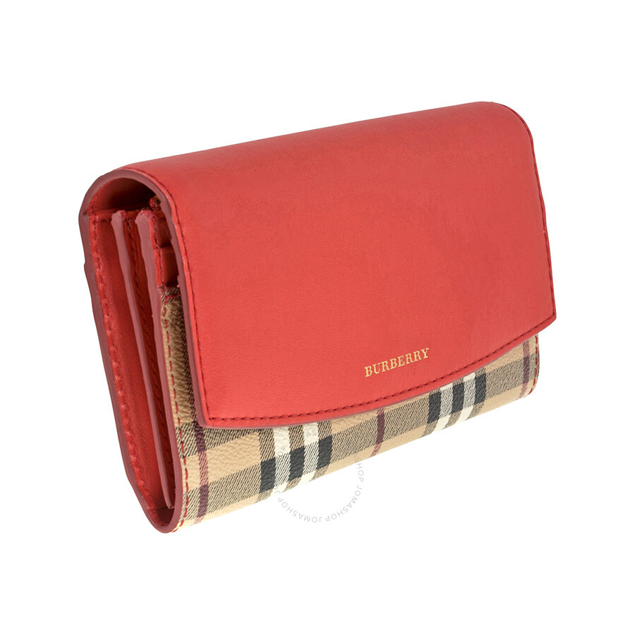 Burberry Porter Haymarket Check And C Red Leather Continental 7d44a826ee