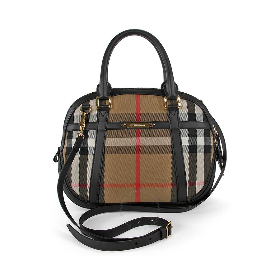 5f2176e50918 Burberry Sartorial House Check Bowling Bag - Black - Burberry ...