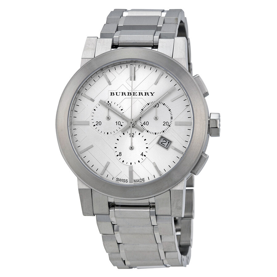 Burberry silver dial chronograph stainless steel men 39 s watch bu9350 burberry watches jomashop for Burberry watches