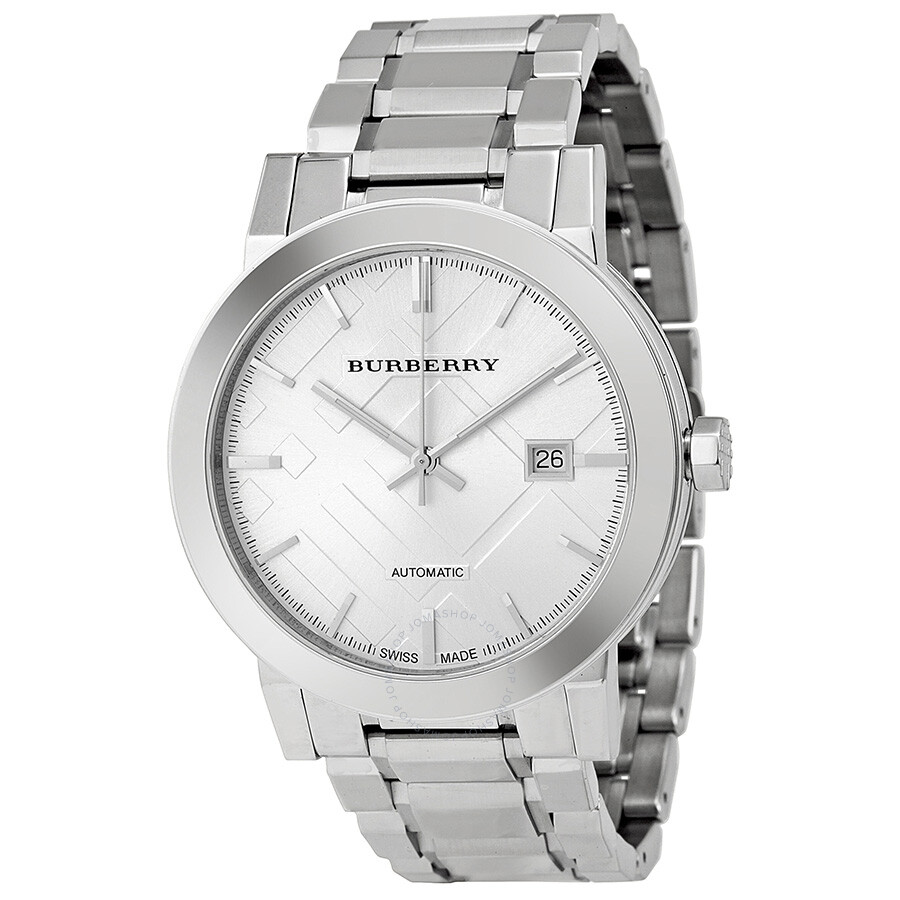 Burberry silver dial stainless steel men 39 s watch bu9300 burberry watches jomashop for Burberry watches