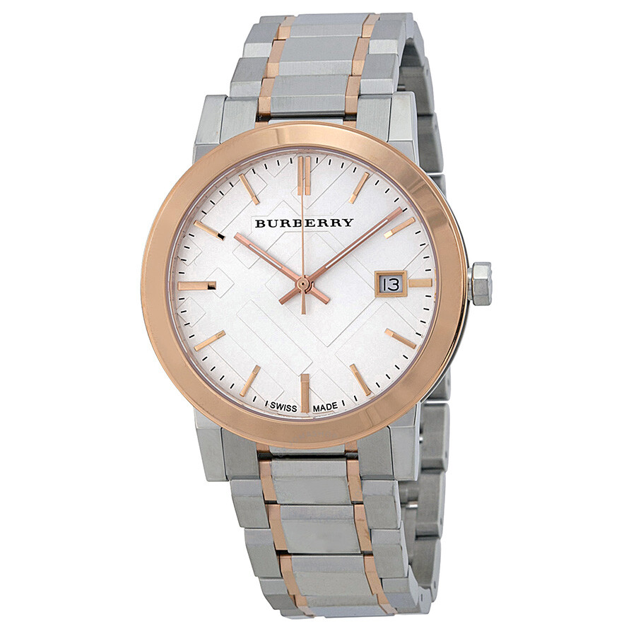 Burberry silver dial two tone stainless steel unisex watch bu9006 burberry watches jomashop for Burberry watches