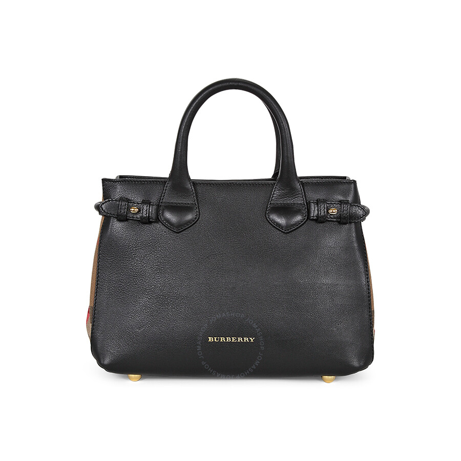 818d76ab480 Burberry Small Banner House Check Black Leather Ladies Tote 3964267 ...