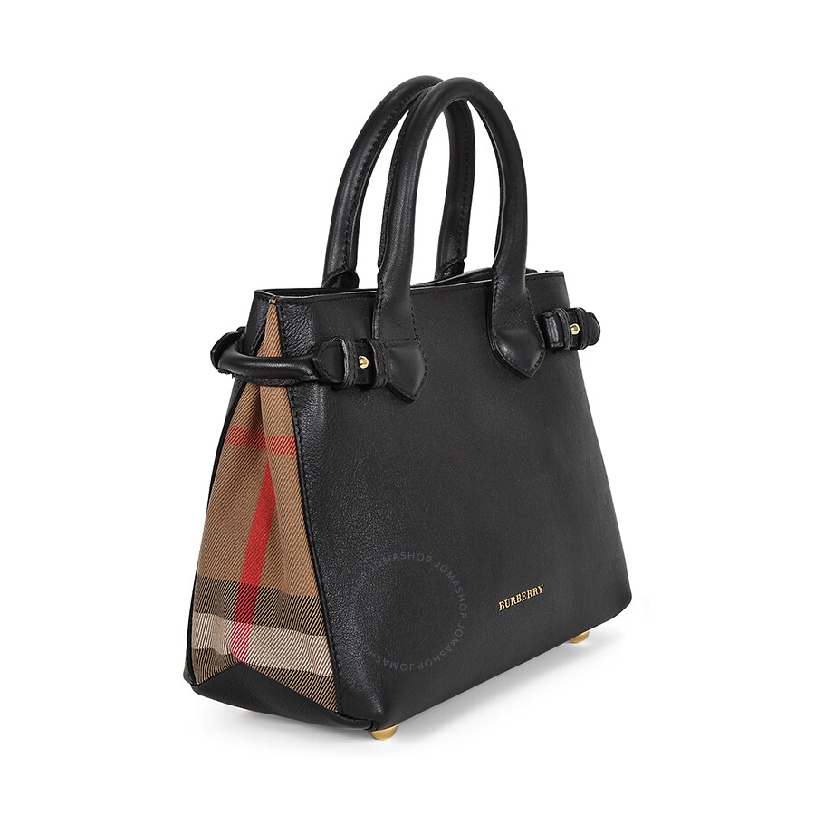 6eab1c7adc89 Burberry Small Banner House Check Black Leather Ladies Tote 3964267 ...