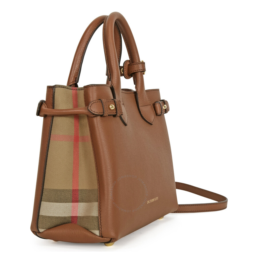 07658fb55cba Burberry Small Banner House Check Derby Tote - Tan - Burberry ...