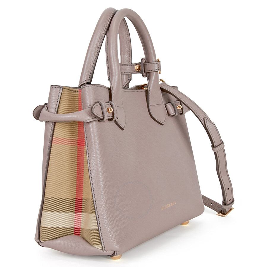 b6c126d49eb8 Burberry Small Banner House Check Derby Tote -Thistle Grey ...