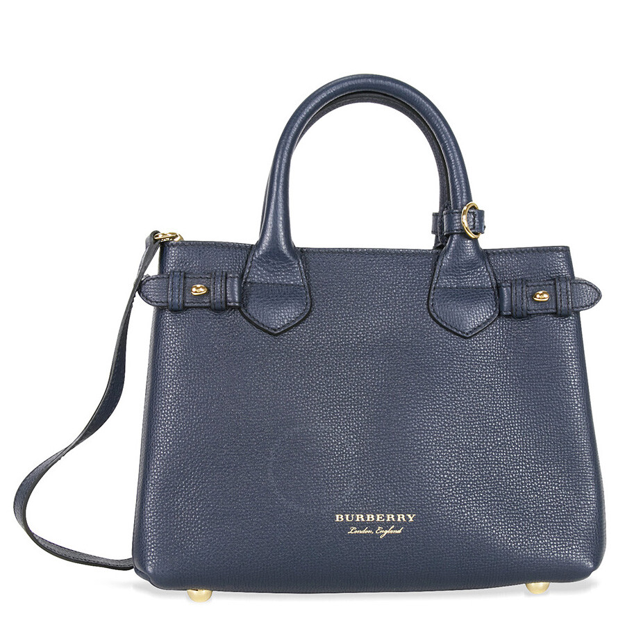 99e6a6ab0e8d Burberry Small Banner House Check Leather Tote - Ink Blue Item No. 4023703