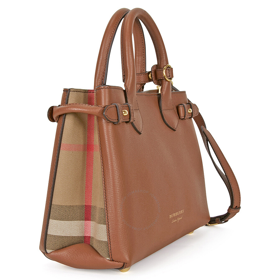 0bb275c125 Burberry Small Banner House Check Leather Tote - Tan - Burberry ...