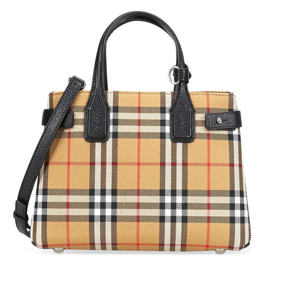 fa2ac892960f Burberry Small Banner in Vintage Check and Leather- Black Item No. 4076948