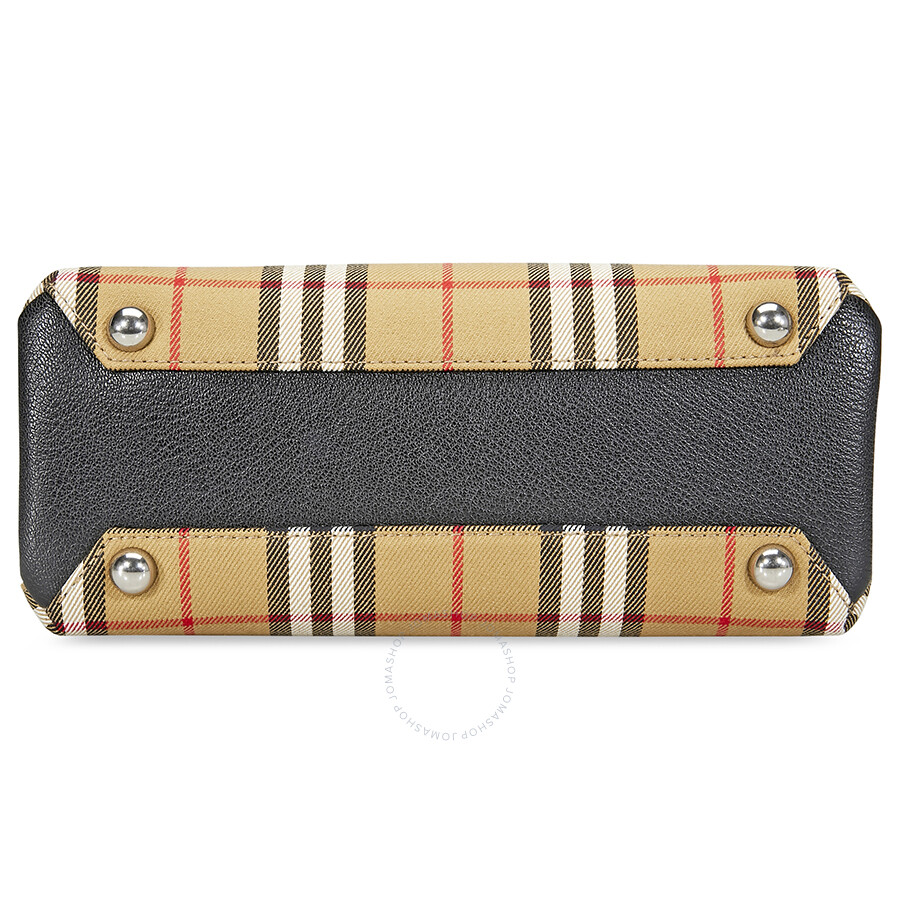 d74c3d2197 Burberry Small Banner in Vintage Check and Leather- Black - Burberry ...