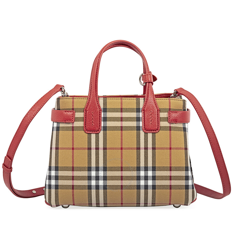 Burberry Small Banner Leather Tote Bright Red