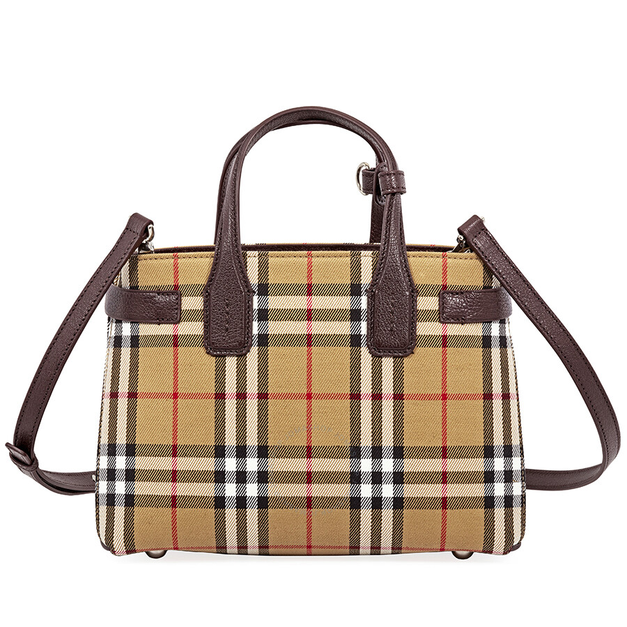 Burberry Small Banner Leather Tote Deep Claret