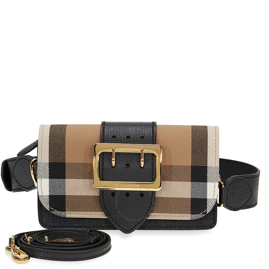 Burberry Small Buckle Bag in House Check and Leather - Black ... 4047e57be974b