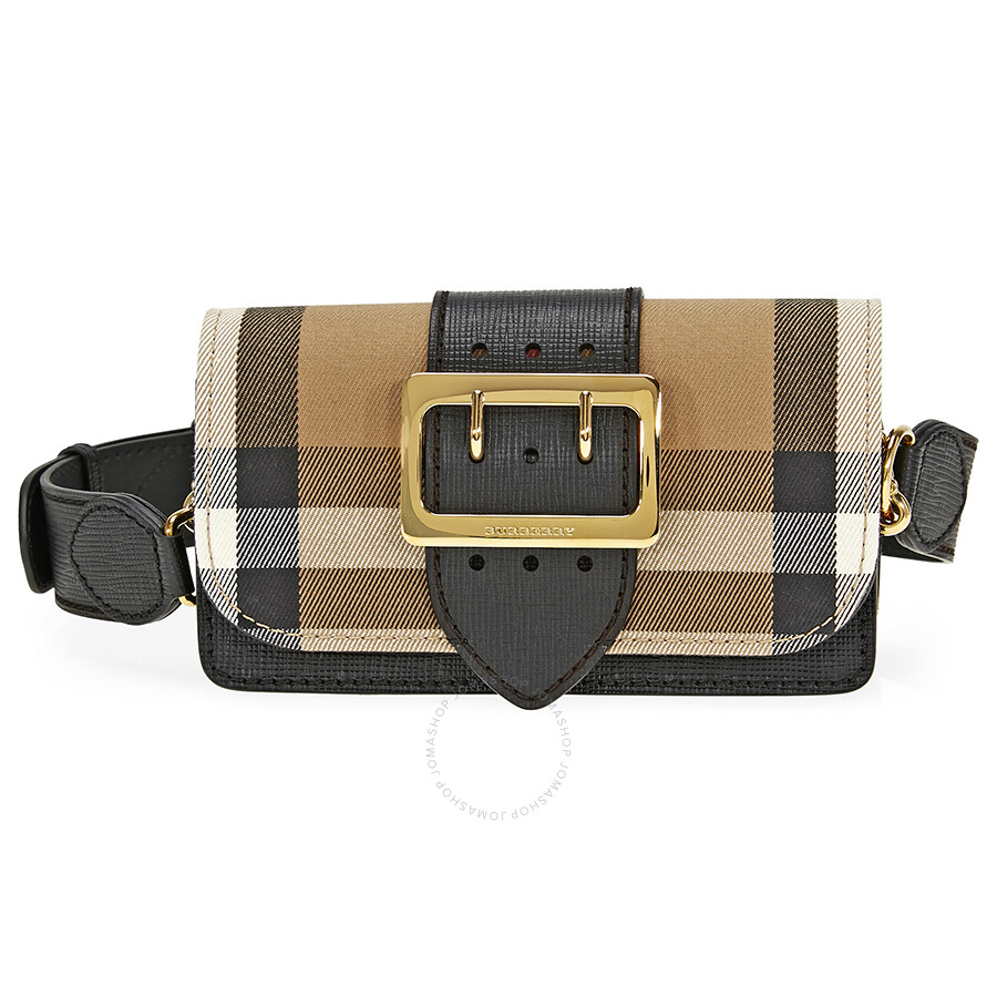 50781cc5a1d8 Burberry Small Buckle Bag in House Check and Leather - Black Item No.  4022460