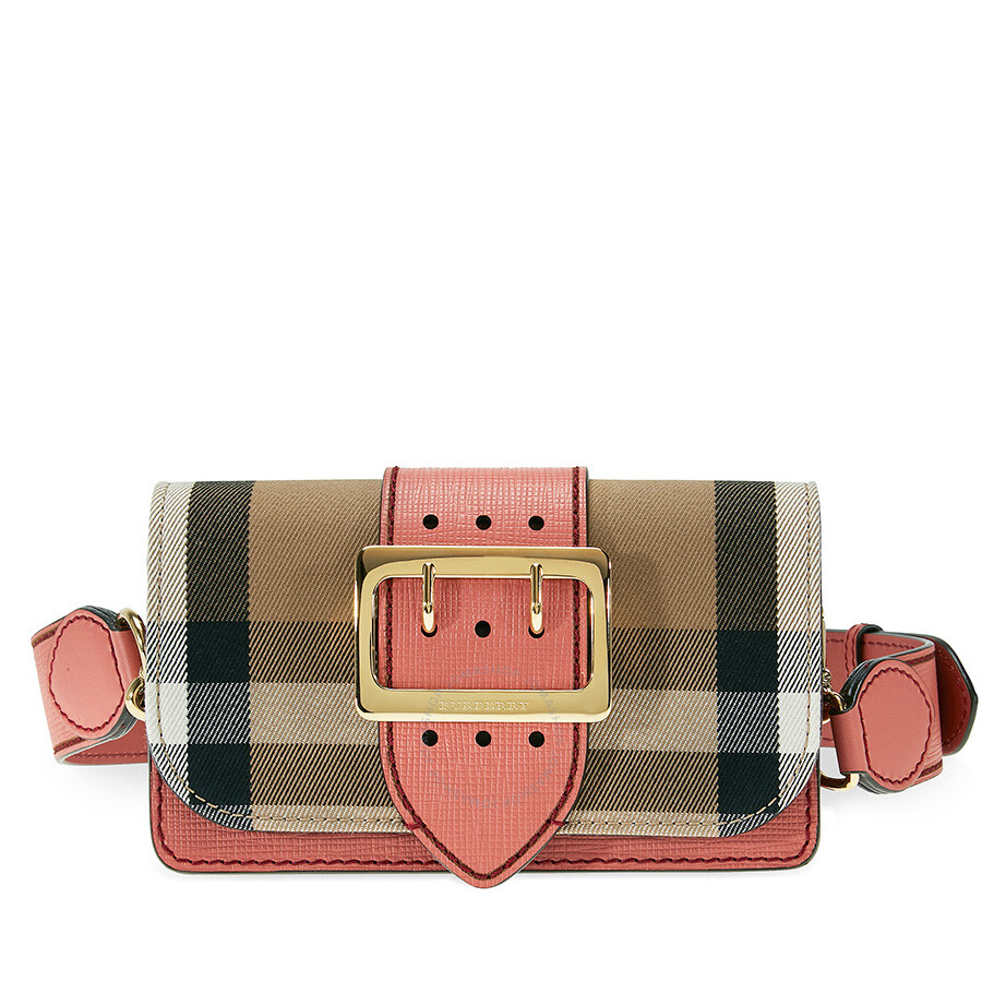 8f578f06e430 Burberry Small Buckle Bag in House Check and Leather - Cinnamon Red Item  No. 4050402