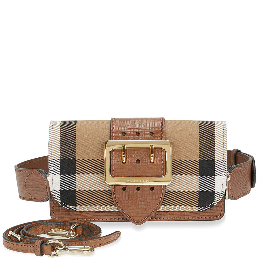 0b5e76d71be1 Burberry Small Buckle Bag in House Check and Leather - Tan ...
