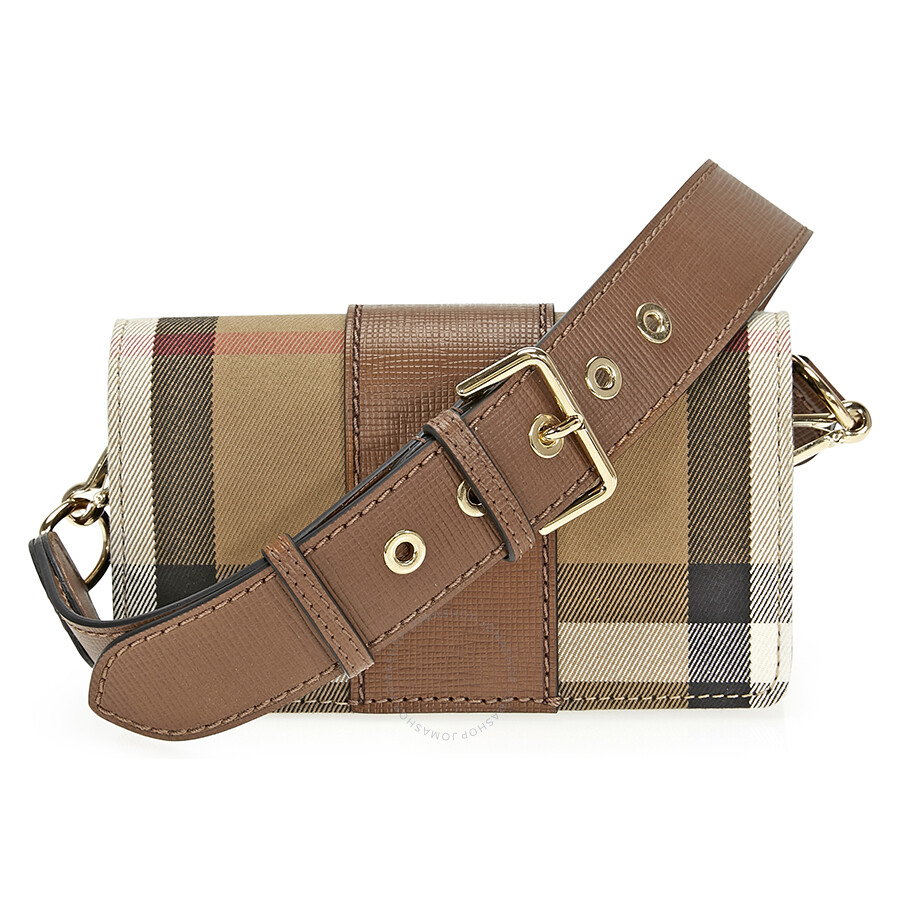 b1dd5fad7fc Burberry Small Buckle Bag in House Check and Leather - Tan ...