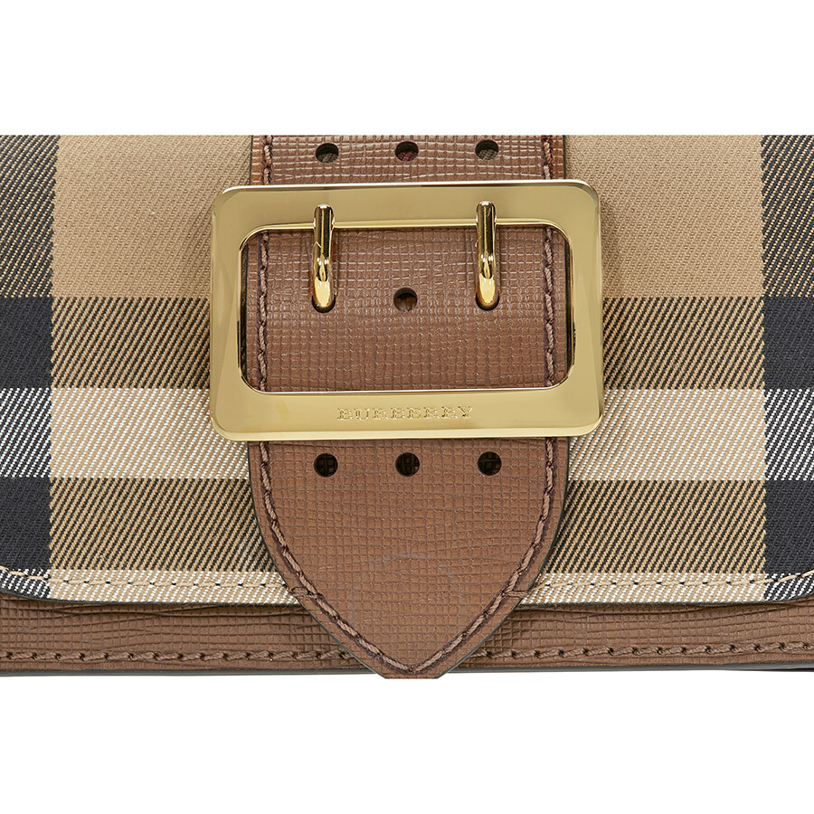 Burberry Small Buckle Bag in House Check and Leather - Tan ... 7aba038750294