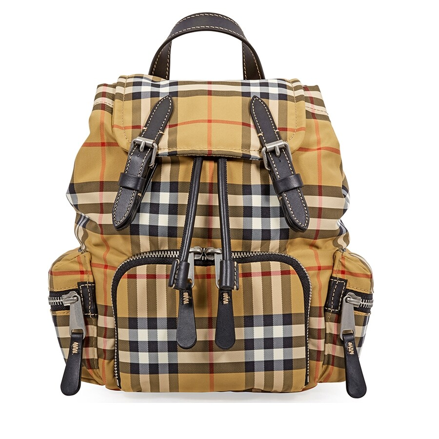 Burberry Small Crossbody Rucksack in Vintage Check- Antique Yellow Item No.  8006725 4d0b2ba5d9aad