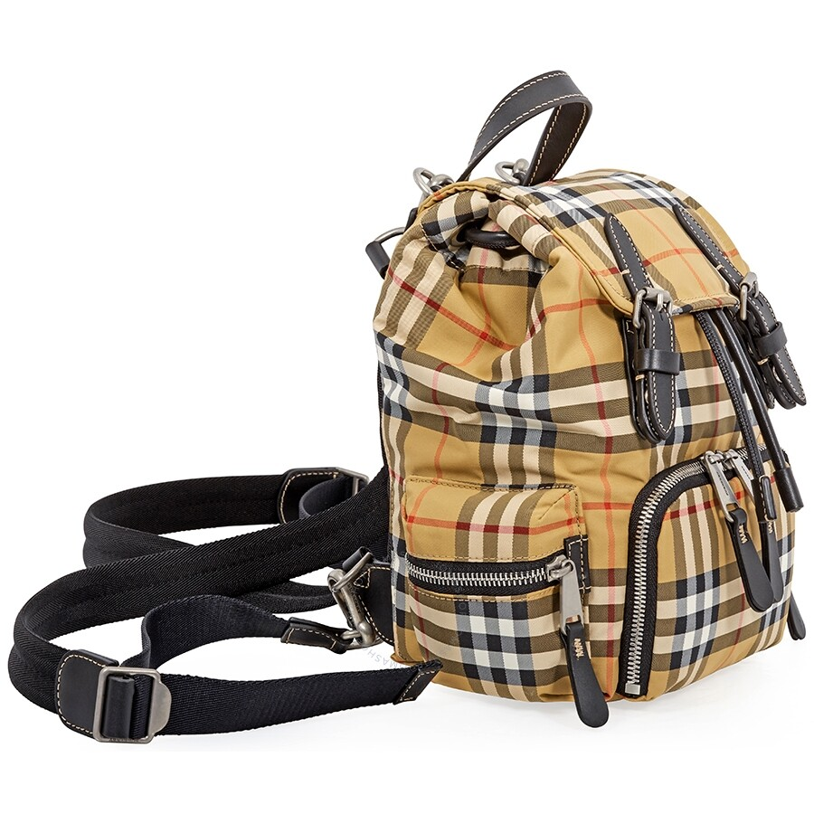 3eb5705f78e2 Burberry Small Crossbody Rucksack in Vintage Check- Antique Yellow ...