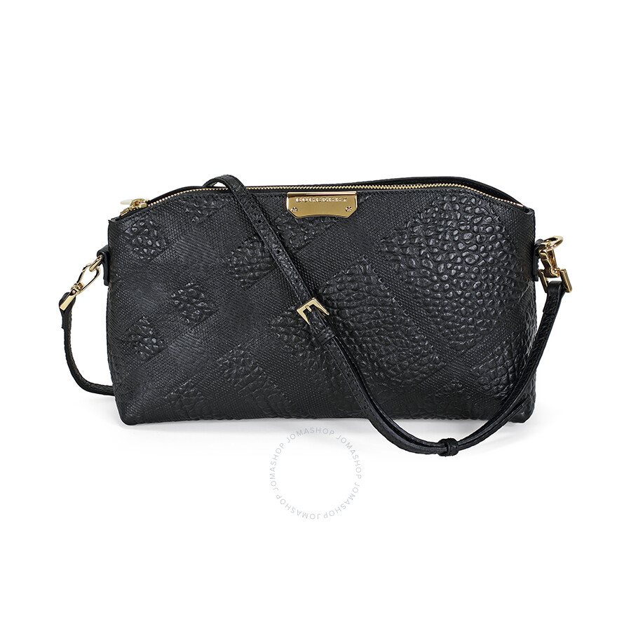 be3adbdb6e52 Burberry Small Embossed Check Leather Clutch Bag - Black Item No. 39394141