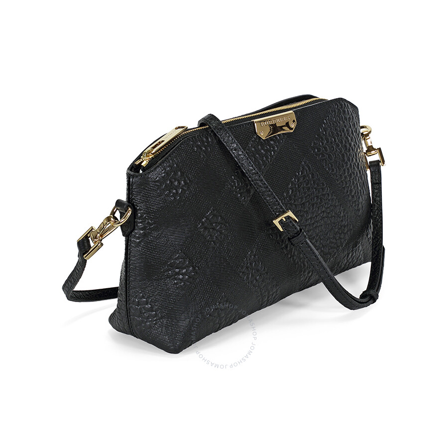 b6a92aa8da27 Burberry Small Embossed Check Leather Clutch Bag - Black - Burberry ...