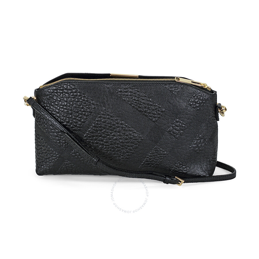 Burberry Small Embossed Check Leather Clutch Bag - Black ...