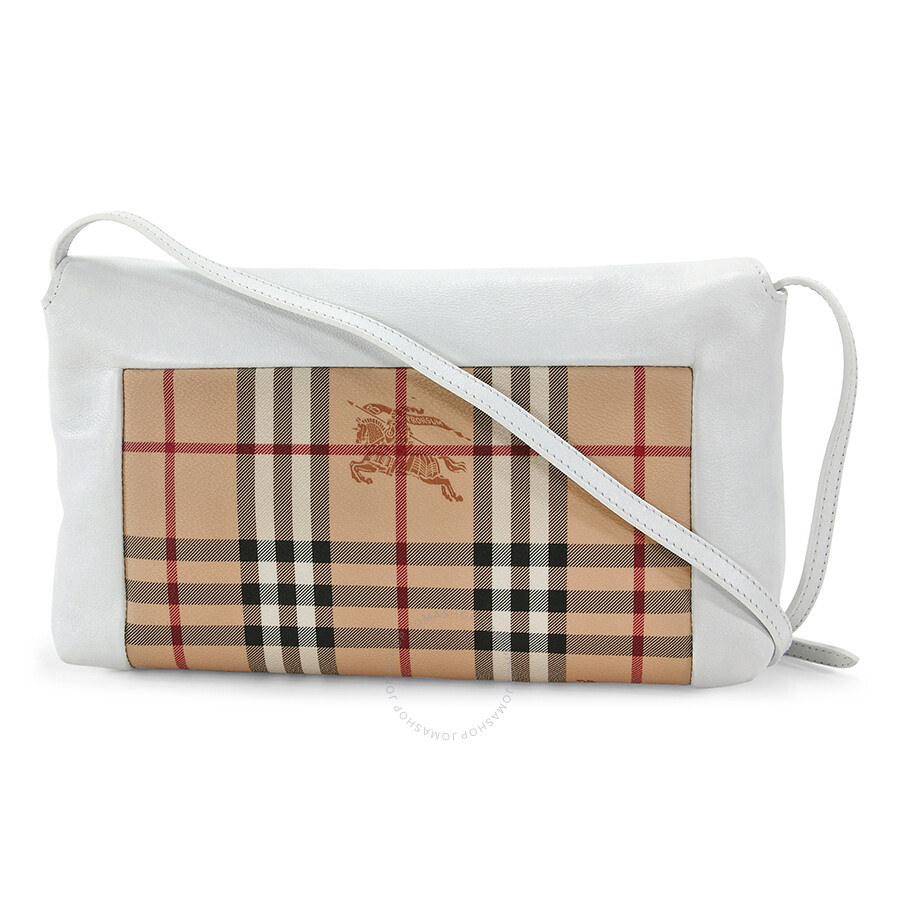 d634da7aedba Burberry Small Haymarket Check Leather Clutch Bag - White - Burberry ...