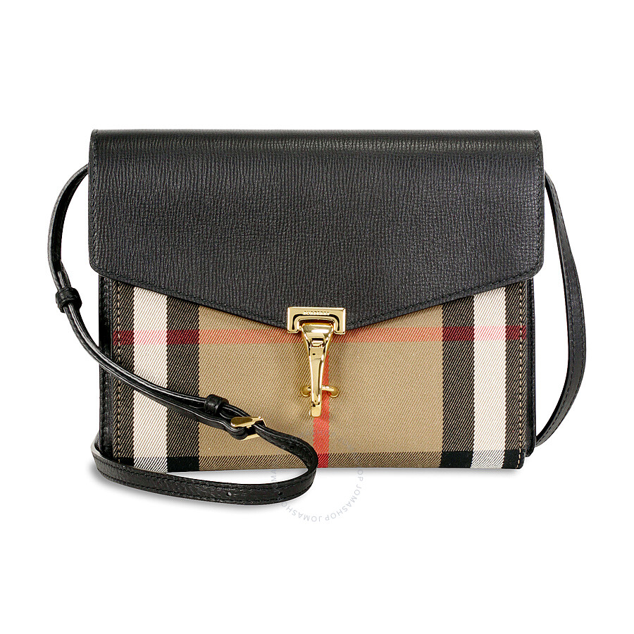 Burberry Small Leather House Check Crossbody Bag - Black