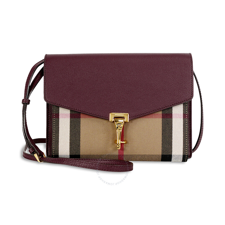 Burberry Small Leather House Check Crossbody Bag - Mahogany Red Item No.  3980828 6a4b8da06