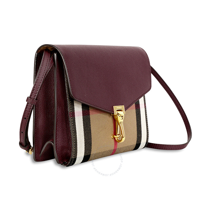 8fc680af7ea Burberry Small Leather House Check Crossbody Bag - Mahogany Red ...