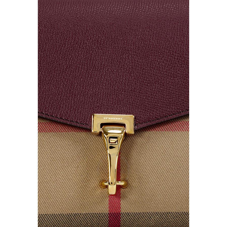 Burberry Small Leather House Check Crossbody Bag - Mahogany Red ... e107607d8e76f
