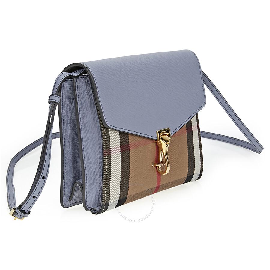 961d21e77c53 Burberry Small Leather House Check Crossbody Bag- Slate Blue ...
