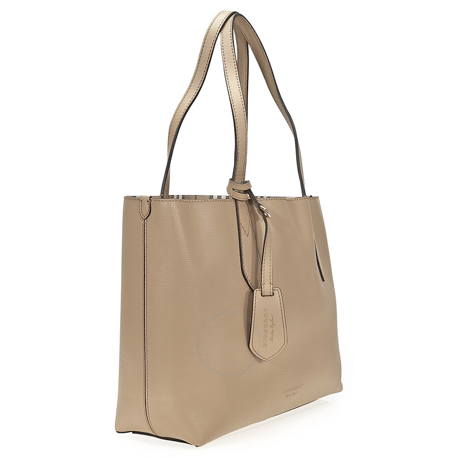 6cef0c9cf023 Burberry Small Reversible Tote in Haymarket Check - Camel - Burberry ...