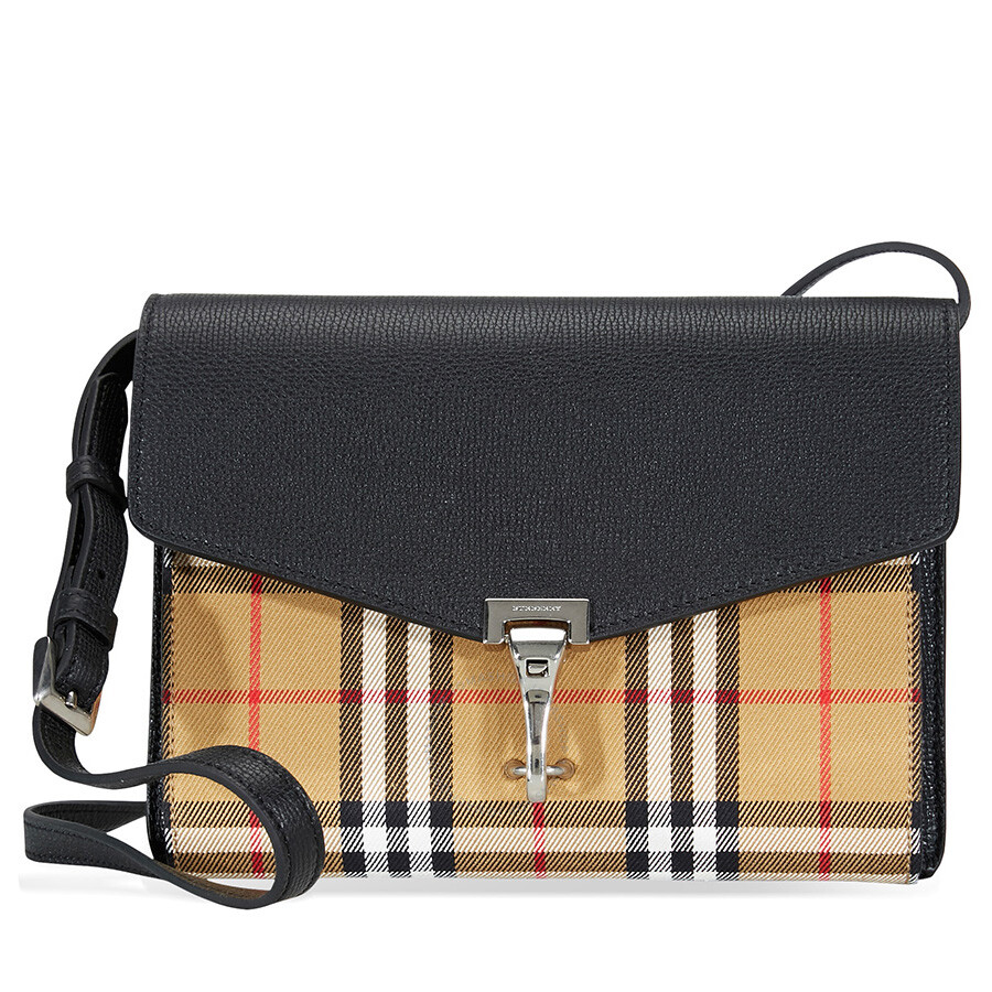 ac6b39adac96 Burberry Small Vintage and Check Crossbody Bag- Black Item No. 4080075