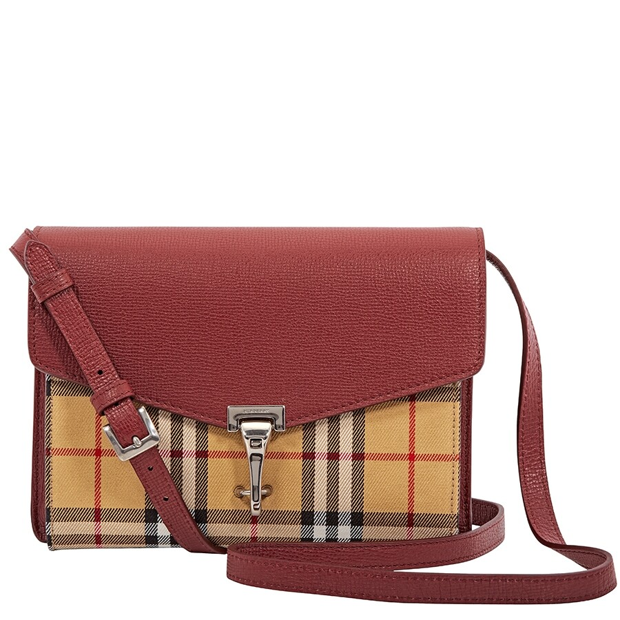 Burberry Small Vintage and Check Crossbody Bag- Crimson Item No. 4080079 2e526cf78aa84