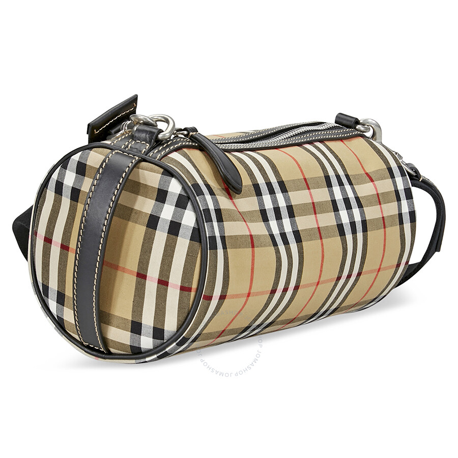 7ea45d9dc590 ... Burberry Small Vintage Check and Leather Barrel Bag- Antique Yellow ...
