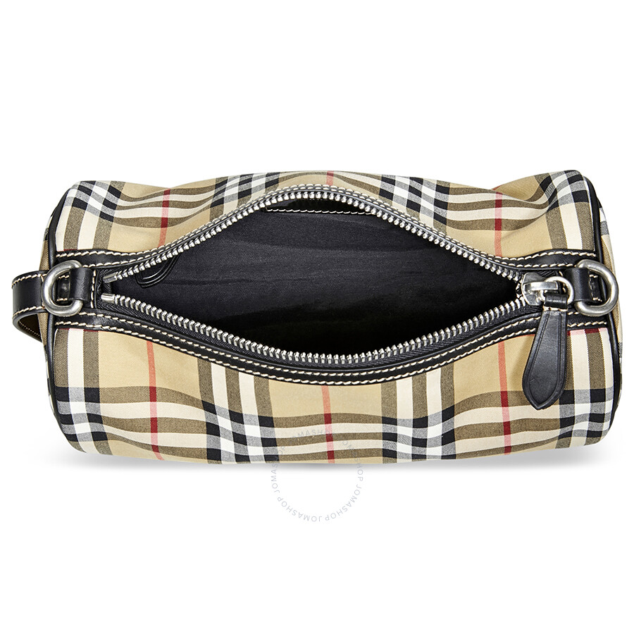 Burberry Small Vintage Check and Leather Barrel Bag- Antique Yellow ... c735645e93b2d