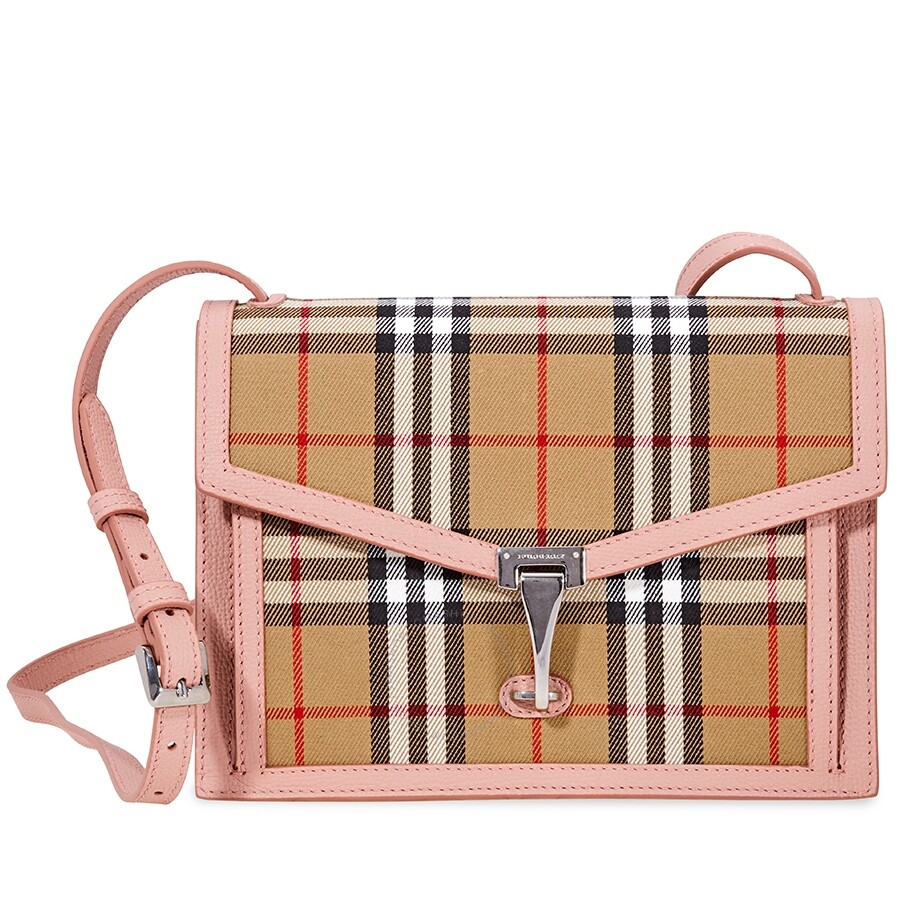 a91226c59a6b Burberry Small Vintage Check and Leather Crossbody Bag- Ash Rose Item No.  8006360