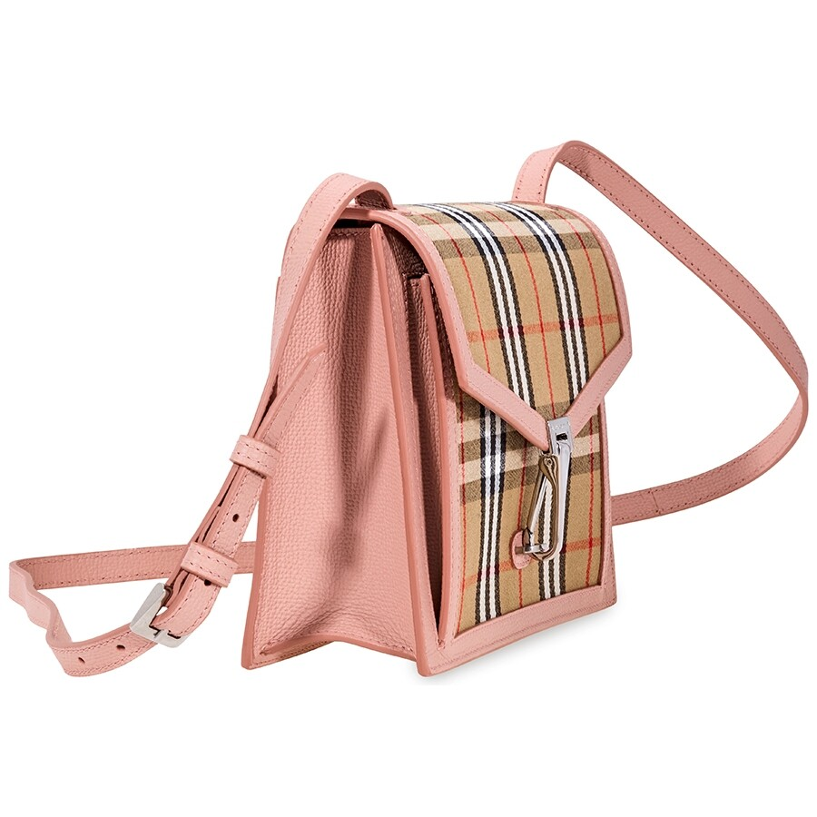 4a9598338d2e Burberry Small Vintage Check and Leather Crossbody Bag- Ash Rose ...