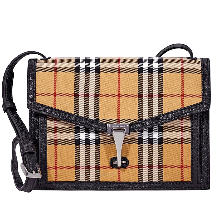 5d9368f06e98 Burberry Small Vintage Check and Leather Crossbody Bag- Black Item No.  8006359