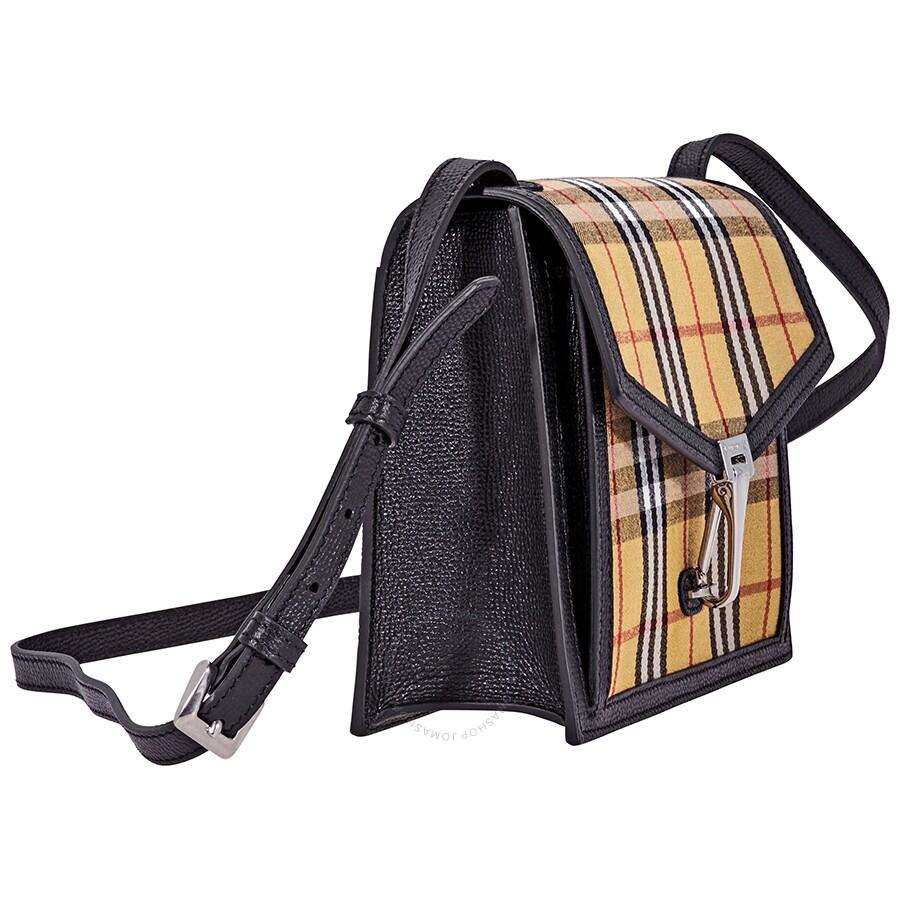 Burberry Small Vintage Check and Leather Crossbody Bag- Black ... 57be8d02cbdf4