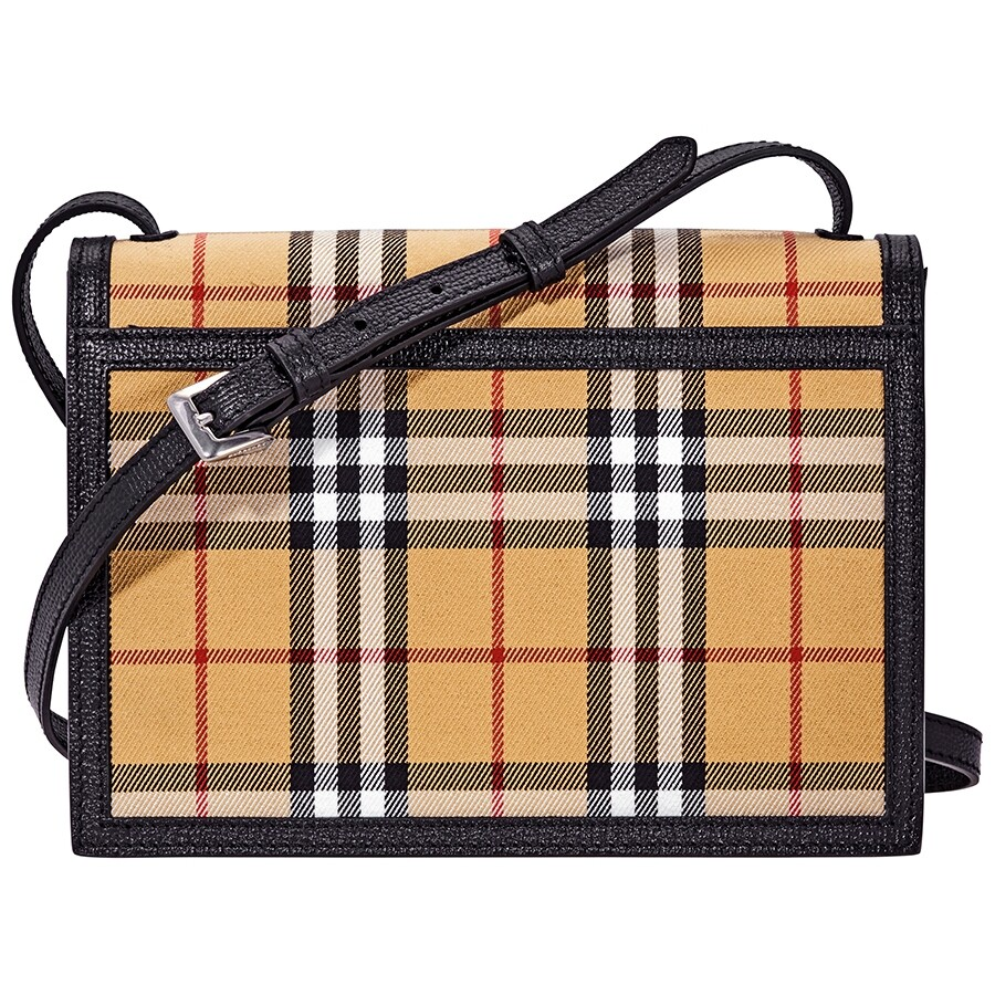 9cb8a249ca86 Burberry Small Vintage Check and Leather Crossbody Bag- Black ...