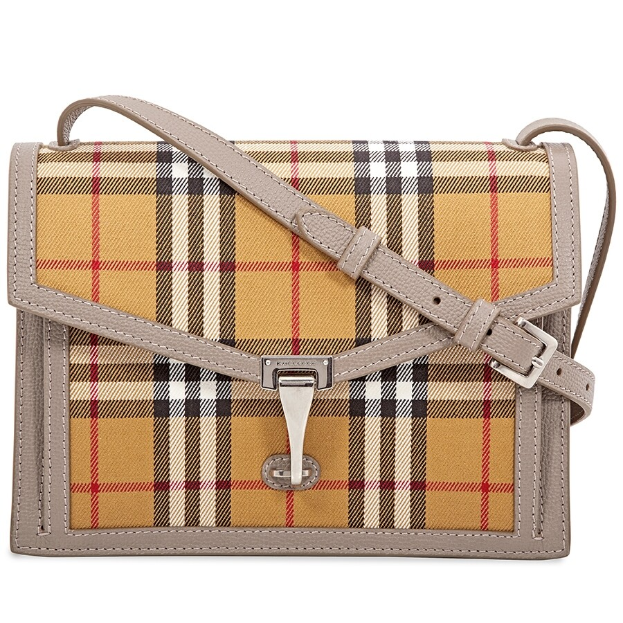 6284bd493236 Burberry Small Vintage Check and Leather Crossbody Bag- Taupe Brown Item  No. 8006361
