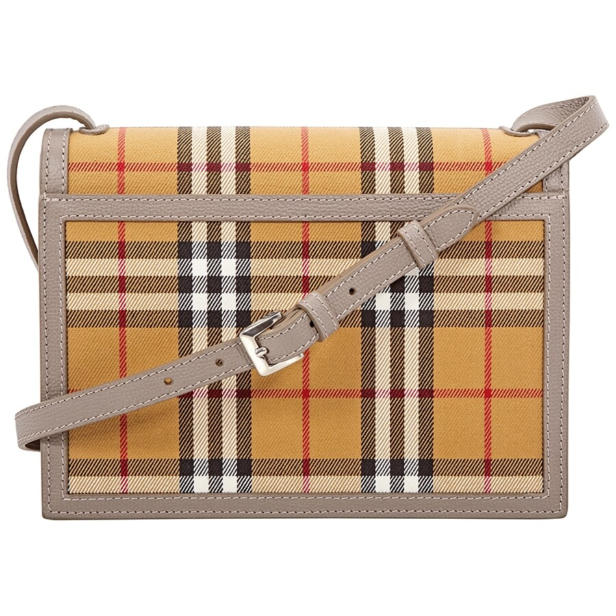 5ae18780c2 Burberry Small Vintage Check and Leather Crossbody Bag- Taupe Brown Item  No. 8006361