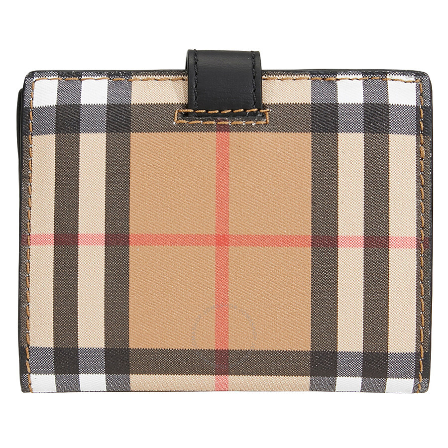 6ca7c562e11 Burberry Small Vintage Check and Leather Folding Wallet- Black Item No.  4073431